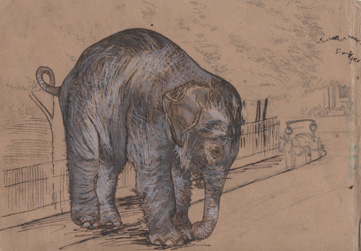 "Until the baby elephant learns muscle control. watercolour and ink on found drawing 3 1/2"" x 5"" 2010"