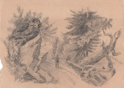 "Listen for sounds drifting through the forest. pencil on found drawing 7 1/4"" x 9 3/8"" 2009"